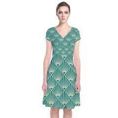 Teal,beige,art Nouveau,vintage,original,belle ¨|poque,fan Pattern,geometric,elegant,chic Short Sleeve Front Wrap Dress