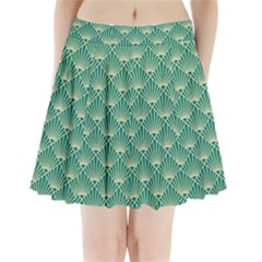 Teal,beige,art Nouveau,vintage,original,belle ¨|poque,fan Pattern,geometric,elegant,chic Pleated Mini Skirt