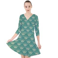 Teal,beige,art Nouveau,vintage,original,belle ¨|poque,fan Pattern,geometric,elegant,chic Quarter Sleeve Front Wrap Dress