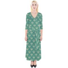 Teal,beige,art Nouveau,vintage,original,belle ¨|poque,fan Pattern,geometric,elegant,chic Quarter Sleeve Wrap Maxi Dress
