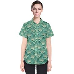 Teal,beige,art Nouveau,vintage,original,belle ¨|poque,fan Pattern,geometric,elegant,chic Women s Short Sleeve Shirt