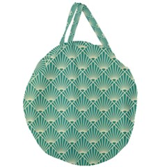 Teal,beige,art Nouveau,vintage,original,belle ¨|poque,fan Pattern,geometric,elegant,chic Giant Round Zipper Tote