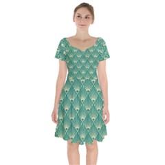 Teal,beige,art Nouveau,vintage,original,belle ¨|poque,fan Pattern,geometric,elegant,chic Short Sleeve Bardot Dress