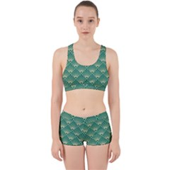 Teal,beige,art Nouveau,vintage,original,belle ¨|poque,fan Pattern,geometric,elegant,chic Work It Out Sports Bra Set