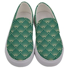 Teal,beige,art Nouveau,vintage,original,belle ¨|poque,fan Pattern,geometric,elegant,chic Men s Canvas Slip Ons