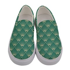 Teal,beige,art Nouveau,vintage,original,belle ¨|poque,fan Pattern,geometric,elegant,chic Women s Canvas Slip Ons