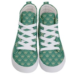 Teal,beige,art Nouveau,vintage,original,belle ¨|poque,fan Pattern,geometric,elegant,chic Kid s Hi Top Skate Sneakers