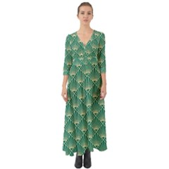 Teal,beige,art Nouveau,vintage,original,belle ¨ poque,fan Pattern,geometric,elegant,chic Button Up Boho Maxi Dress