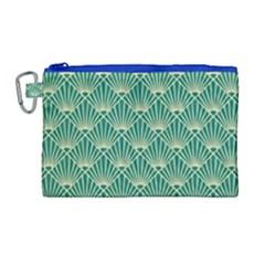 Teal,beige,art Nouveau,vintage,original,belle ¨|poque,fan Pattern,geometric,elegant,chic Canvas Cosmetic Bag (large)