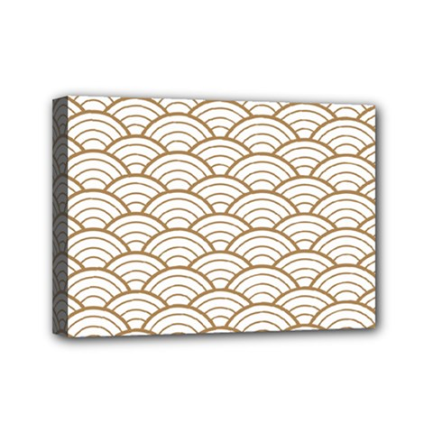 Gold,white,art Deco,vintage,shell Pattern,asian Pattern,elegant,chic,beautiful Mini Canvas 7  X 5
