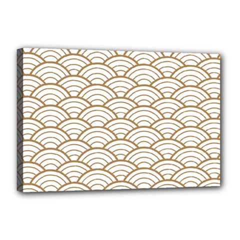 Gold,white,art Deco,vintage,shell Pattern,asian Pattern,elegant,chic,beautiful Canvas 18  X 12