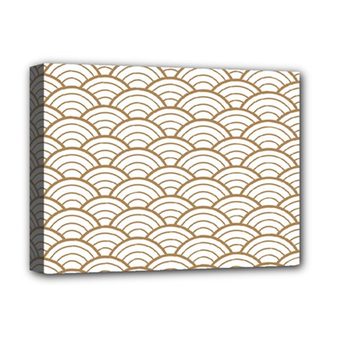Gold,white,art Deco,vintage,shell Pattern,asian Pattern,elegant,chic,beautiful Deluxe Canvas 16  X 12