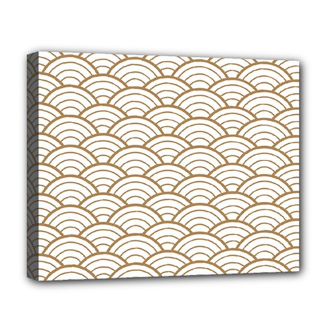 Gold,white,art Deco,vintage,shell Pattern,asian Pattern,elegant,chic,beautiful Deluxe Canvas 20  X 16