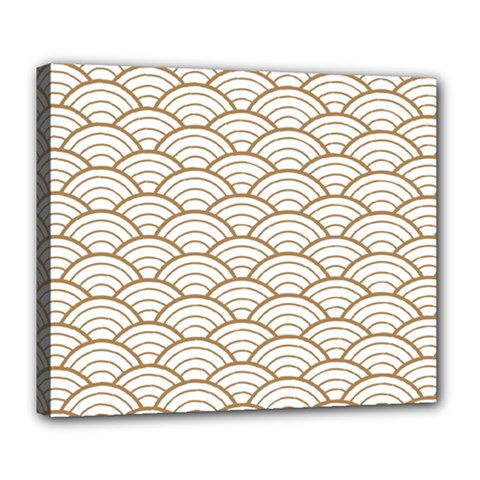 Gold,white,art Deco,vintage,shell Pattern,asian Pattern,elegant,chic,beautiful Deluxe Canvas 24  X 20