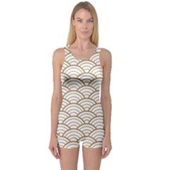 Gold,white,art Deco,vintage,shell Pattern,asian Pattern,elegant,chic,beautiful One Piece Boyleg Swimsuit