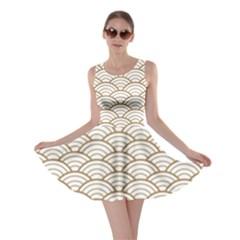 Gold,white,art Deco,vintage,shell Pattern,asian Pattern,elegant,chic,beautiful Skater Dress