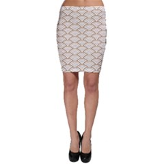 Gold,white,art Deco,vintage,shell Pattern,asian Pattern,elegant,chic,beautiful Bodycon Skirt