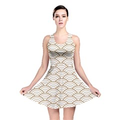 Gold,white,art Deco,vintage,shell Pattern,asian Pattern,elegant,chic,beautiful Reversible Skater Dress