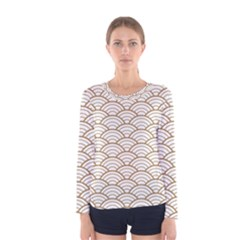 Gold,white,art Deco,vintage,shell Pattern,asian Pattern,elegant,chic,beautiful Women s Long Sleeve Tee