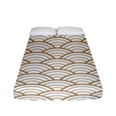 Gold,white,art Deco,vintage,shell Pattern,asian Pattern,elegant,chic,beautiful Fitted Sheet (full/ Double Size)