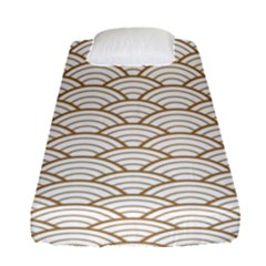 Gold,white,art Deco,vintage,shell Pattern,asian Pattern,elegant,chic,beautiful Fitted Sheet (single Size)