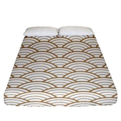 Gold,white,art Deco,vintage,shell Pattern,asian Pattern,elegant,chic,beautiful Fitted Sheet (queen Size)