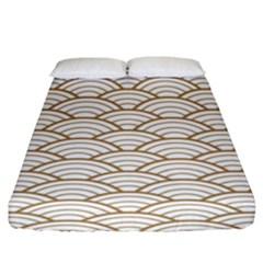 Gold,white,art Deco,vintage,shell Pattern,asian Pattern,elegant,chic,beautiful Fitted Sheet (king Size)