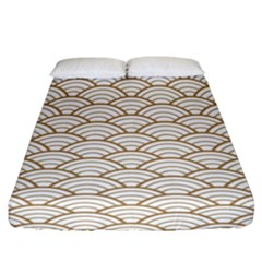 Gold,white,art Deco,vintage,shell Pattern,asian Pattern,elegant,chic,beautiful Fitted Sheet (california King Size)