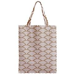 Gold,white,art Deco,vintage,shell Pattern,asian Pattern,elegant,chic,beautiful Zipper Classic Tote Bag