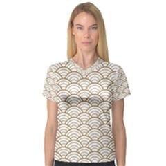 Gold,white,art Deco,vintage,shell Pattern,asian Pattern,elegant,chic,beautiful V Neck Sport Mesh Tee