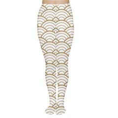 Gold,white,art Deco,vintage,shell Pattern,asian Pattern,elegant,chic,beautiful Women s Tights