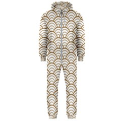 Gold,white,art Deco,vintage,shell Pattern,asian Pattern,elegant,chic,beautiful Hooded Jumpsuit (men)