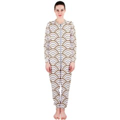 Gold,white,art Deco,vintage,shell Pattern,asian Pattern,elegant,chic,beautiful Onepiece Jumpsuit (ladies)