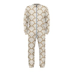 Gold,white,art Deco,vintage,shell Pattern,asian Pattern,elegant,chic,beautiful Onepiece Jumpsuit (kids)