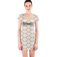 Gold,white,art Deco,vintage,shell Pattern,asian Pattern,elegant,chic,beautiful Short Sleeve Bodycon Dress