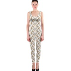 Gold,white,art Deco,vintage,shell Pattern,asian Pattern,elegant,chic,beautiful Onepiece Catsuit