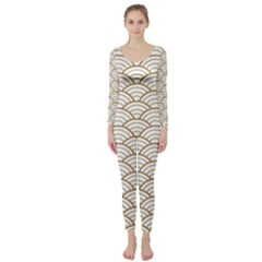 Gold,white,art Deco,vintage,shell Pattern,asian Pattern,elegant,chic,beautiful Long Sleeve Catsuit