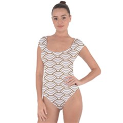 Gold,white,art Deco,vintage,shell Pattern,asian Pattern,elegant,chic,beautiful Short Sleeve Leotard
