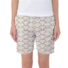 Gold,white,art Deco,vintage,shell Pattern,asian Pattern,elegant,chic,beautiful Women s Basketball Shorts