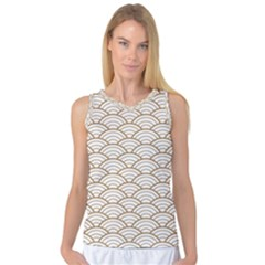 Gold,white,art Deco,vintage,shell Pattern,asian Pattern,elegant,chic,beautiful Women s Basketball Tank Top