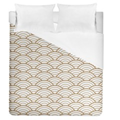Gold,white,art Deco,vintage,shell Pattern,asian Pattern,elegant,chic,beautiful Duvet Cover (queen Size)