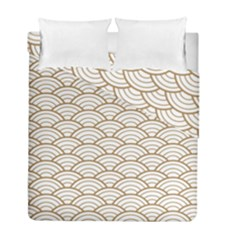 Gold,white,art Deco,vintage,shell Pattern,asian Pattern,elegant,chic,beautiful Duvet Cover Double Side (full/ Double Size)