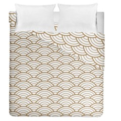 Gold,white,art Deco,vintage,shell Pattern,asian Pattern,elegant,chic,beautiful Duvet Cover Double Side (queen Size)