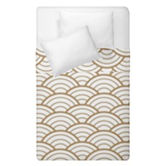 Gold,white,art Deco,vintage,shell Pattern,asian Pattern,elegant,chic,beautiful Duvet Cover Double Side (single Size)
