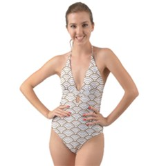 Gold,white,art Deco,vintage,shell Pattern,asian Pattern,elegant,chic,beautiful Halter Cut Out One Piece Swimsuit