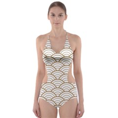 Gold,white,art Deco,vintage,shell Pattern,asian Pattern,elegant,chic,beautiful Cut Out One Piece Swimsuit
