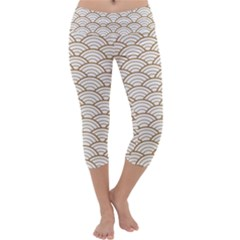 Gold,white,art Deco,vintage,shell Pattern,asian Pattern,elegant,chic,beautiful Capri Yoga Leggings