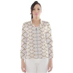 Gold,white,art Deco,vintage,shell Pattern,asian Pattern,elegant,chic,beautiful Wind Breaker (women)