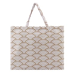 Gold,white,art Deco,vintage,shell Pattern,asian Pattern,elegant,chic,beautiful Zipper Large Tote Bag