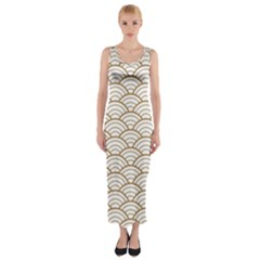 Gold,white,art Deco,vintage,shell Pattern,asian Pattern,elegant,chic,beautiful Fitted Maxi Dress